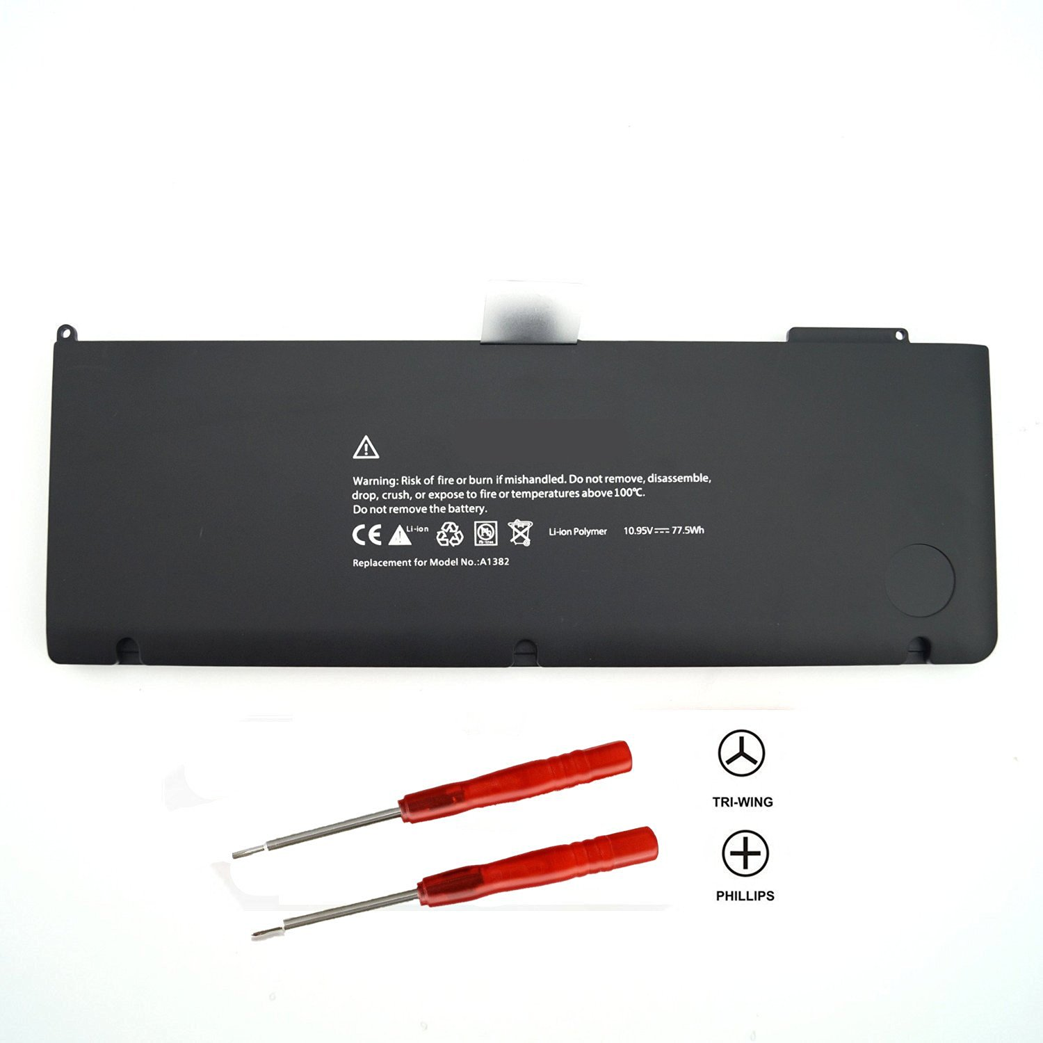 T-Quick® 10.95V 77.5Wh A1382 Battery For Apple A1382 A1286 (only for Core i7 Early 2011 Late 2011 Mid 2012) MacBook Pro 15 Inch Core i7,Replace:MC721LL/A, MC723LL/A, MD318LL/A, MD322LL/A, MD103LL/A, MD104LL/A, 020-7134-A, 661-5844, 661-52119(With 3 Free Screwdrivers)