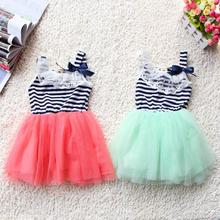 Summer Toddler Baby Dress Girl Flower Tulle Braces Lace Bowknot Stripes Tutu Dress 2-6Y