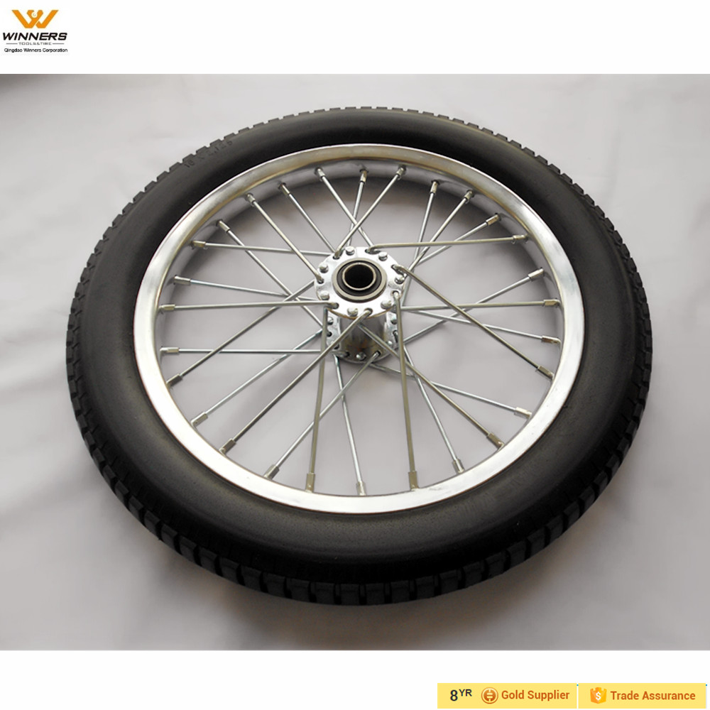 16 inch Flat Free Tire on steel spoked rim for bicycle trailer