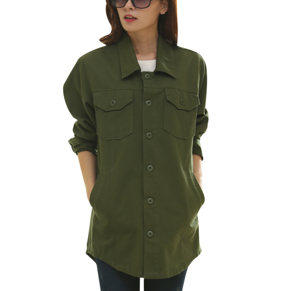 Shirt design style - Brand New Women Casual Loose Style Shirts Free Size Top Quality Unique Design Army Green Long