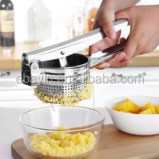 Convenient easy handling S/S potato masher with side holes