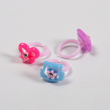 wholesale cartoon finger jewelry with a diamond children kids plastic finger rings
