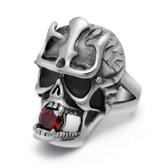 Top Quality Wholesale Price Fashion Vintage Skull Ring Men Cool Stainless Steel Rings For Men Punk Biker Ruby Jewelry Mens Rings