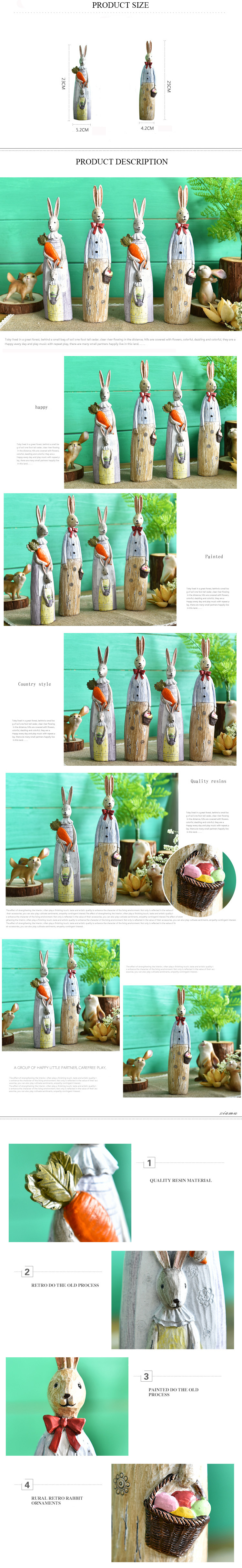 Wholesale Easter Rabbits Resin Animal Figurines Decoration
