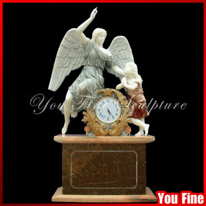Life-size Indoor Decorative Marble Angel Statue With Clock For Sale