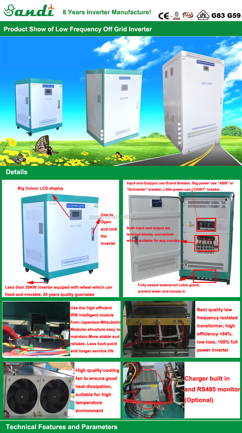 Sdp 200kw Dc Ac Off Grid Solar Power Inverter For Commercial Wiring Details Industrial Use