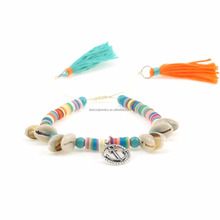 2017 Lovely Handmade Jewelry Women Tassel Anchor Bracelet Beach Sea Shell Bracelets Polymer Clay Bracelets For Woman