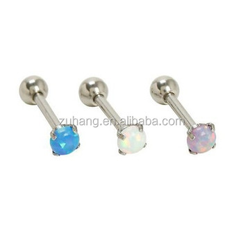d5bb1dee6 Ear Helix Piercing 4 Prong Set Synthetic Opal Tragus Earring Cartilage  Barbell