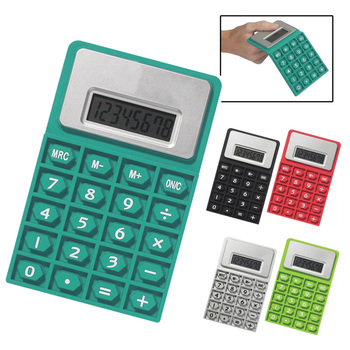 Quality innovated gift portable flat rectangle flexible folding 8 digits cell battery waterproof silicone waterproof calculator