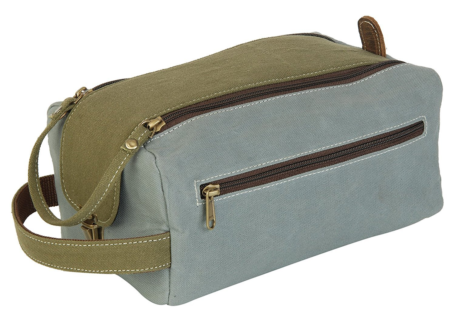 1a1ddbc51a Get Quotations · Dopp Shaving kit Waxed canvas   bufflo hunter leather  cosmetic makeup bag