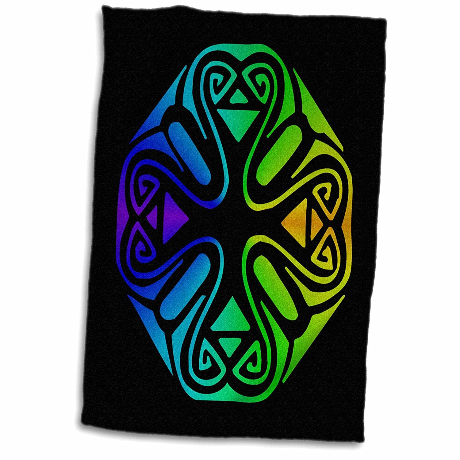 3dRose Russ Billington Designs - Abstract Geometric Motif in Yellow Green Purple and Blue - 15x22 Hand Towel (twl_262222_1)