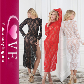 Lace Long Sleeve Bridal Night Dress Women New Sexy Nighty Design ... ec1f34c5df