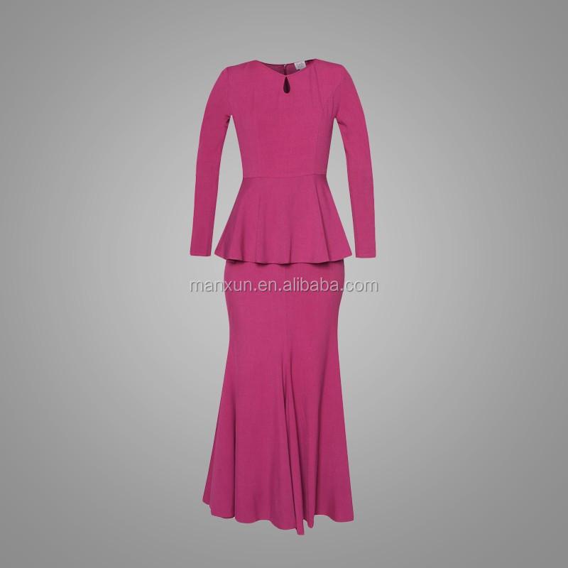 Rose Red Peplum Dress Fashion Baju Kurung For Muslim Women Modern Baju Kebaya With Mermaid Skirt