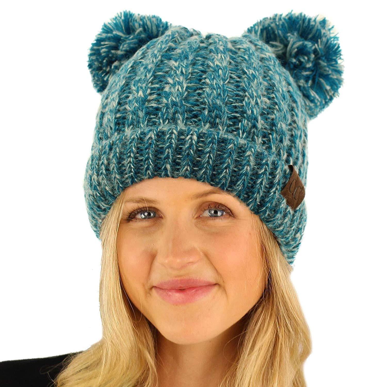 181fb3ef028 Get Quotations · CC Winter Cute 2Pom Pom Ears 2tone Soft Warm Thick Chunky Knit  Beanie Hat