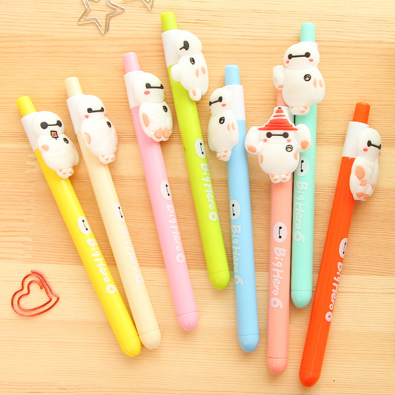 Korea Creative The Big Hero 6 Baymax Series Gel Pen 0.5mm Black Ink Funny Kids Gift Free Shipping Kawaii School Supplies