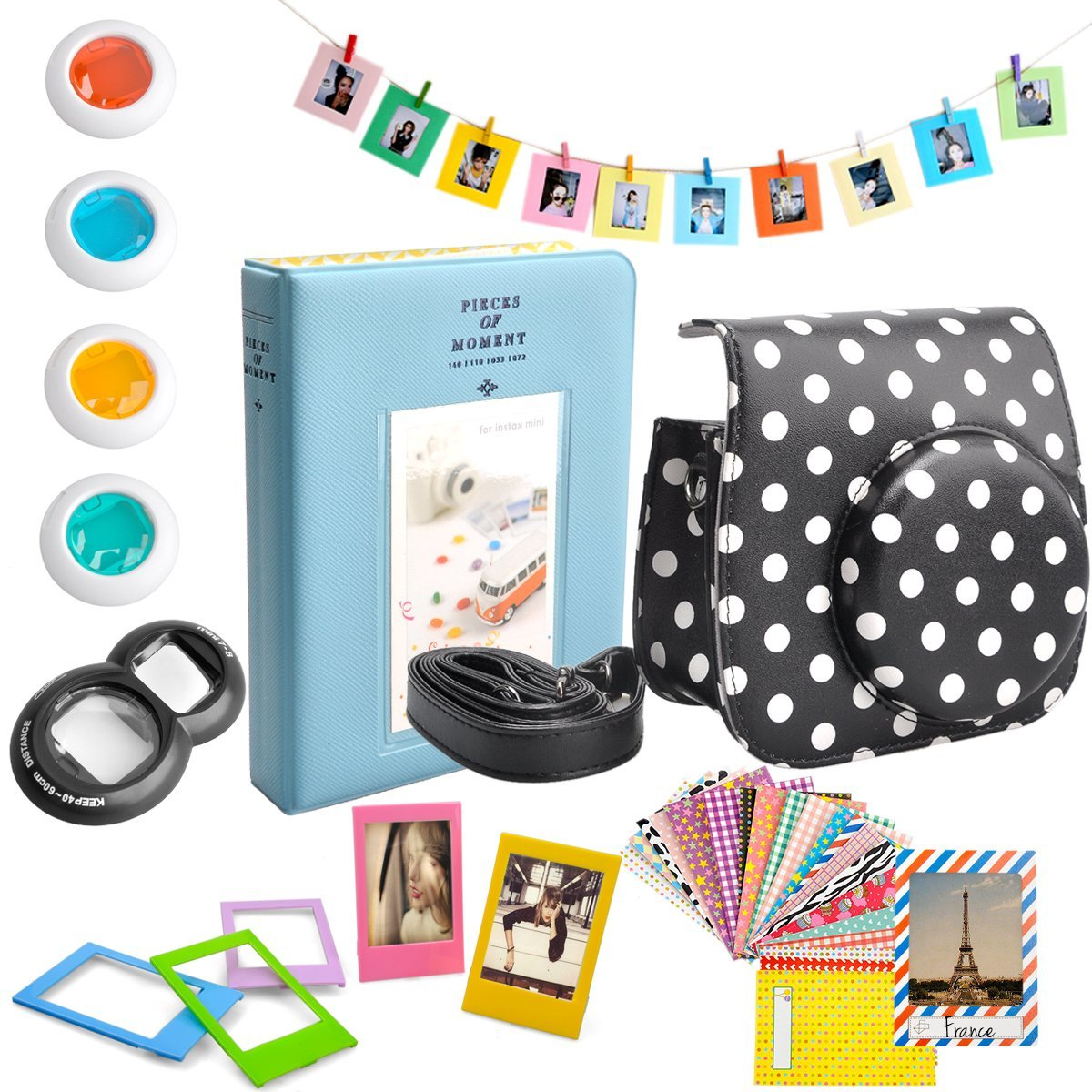 SKmoon 7 in 1 Fujifilm Instax Mini 8 Instant Film Camera Accessories Bundles Set [Camera Case/ Album/ Selfie Lens/ Close-Up Lens/ Frames/ Film Frames/ Stickers](Black/ white dots)