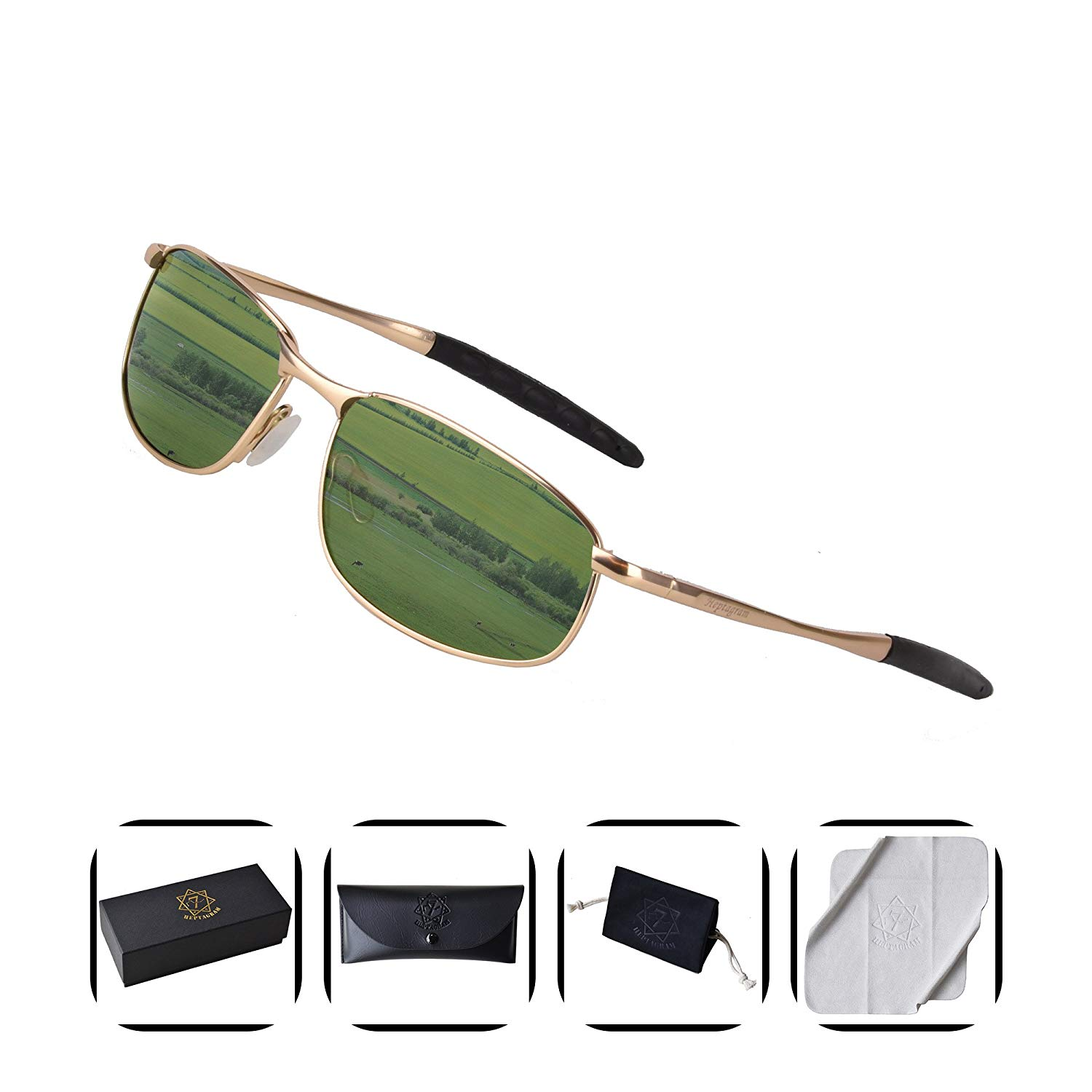 093e9dbb2 Get Quotations · Polarized Retro Sunglasses for Men , HEPTAGRAM Rectangle  Metal Frame for Driving Fishing Sporting with Case