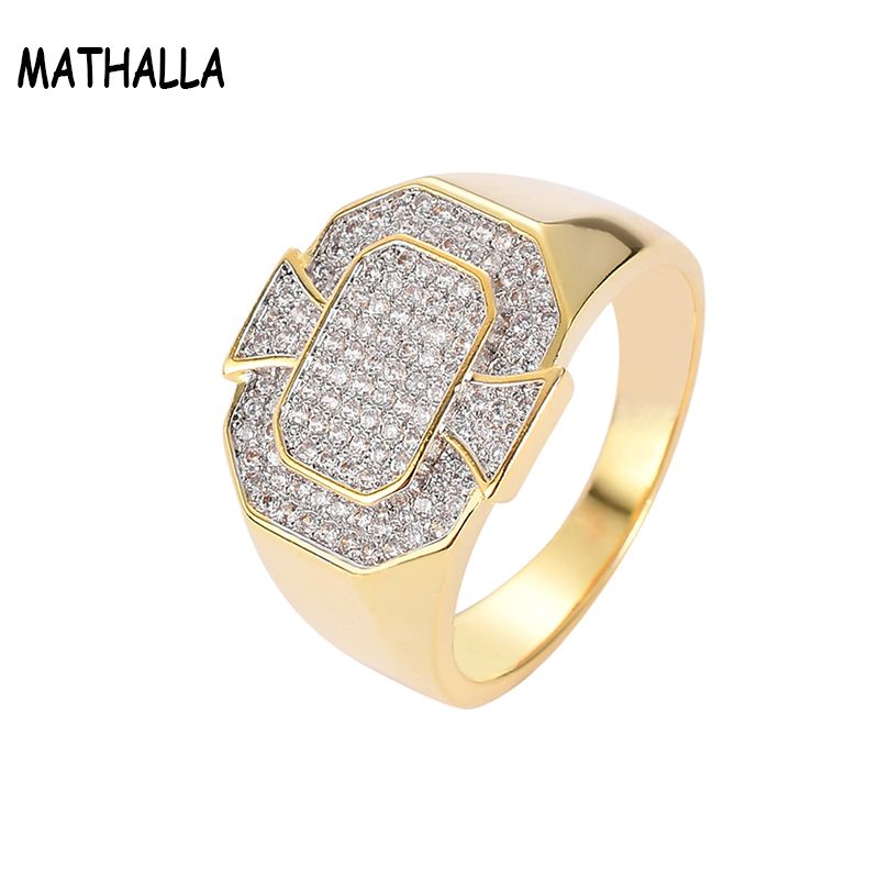 Popular Rock Jewelry Iced Out Zircon Stone Geometric Ring Micro Pave CZ Ring Gold Joyeria Hip Hop Jewelry Homme, Platinum;gold