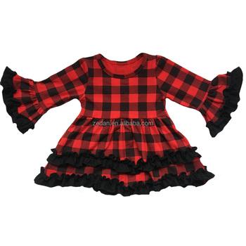 8ace2274be0b long sleeve baby buffalo plaid cloth girls frocks ruffle dress smock  designs us check wears