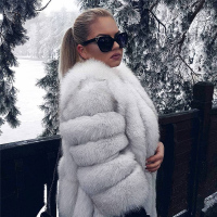2019 hot selling lady real fur coats jacket natural women warm winter real fox fur coat