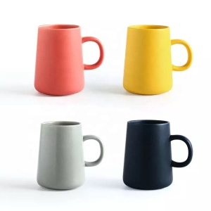 Matte glazed solid color stoneware coffee milk mug espresso tea creative ceramic cup with customized logo