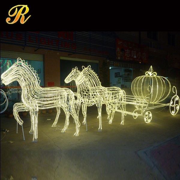 Native pumpkin horse carriage moving christmas decoration