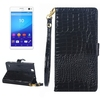 2015 New Products Wallet Style Leather Phone Case for Sony Xperia C4 with Lanyard