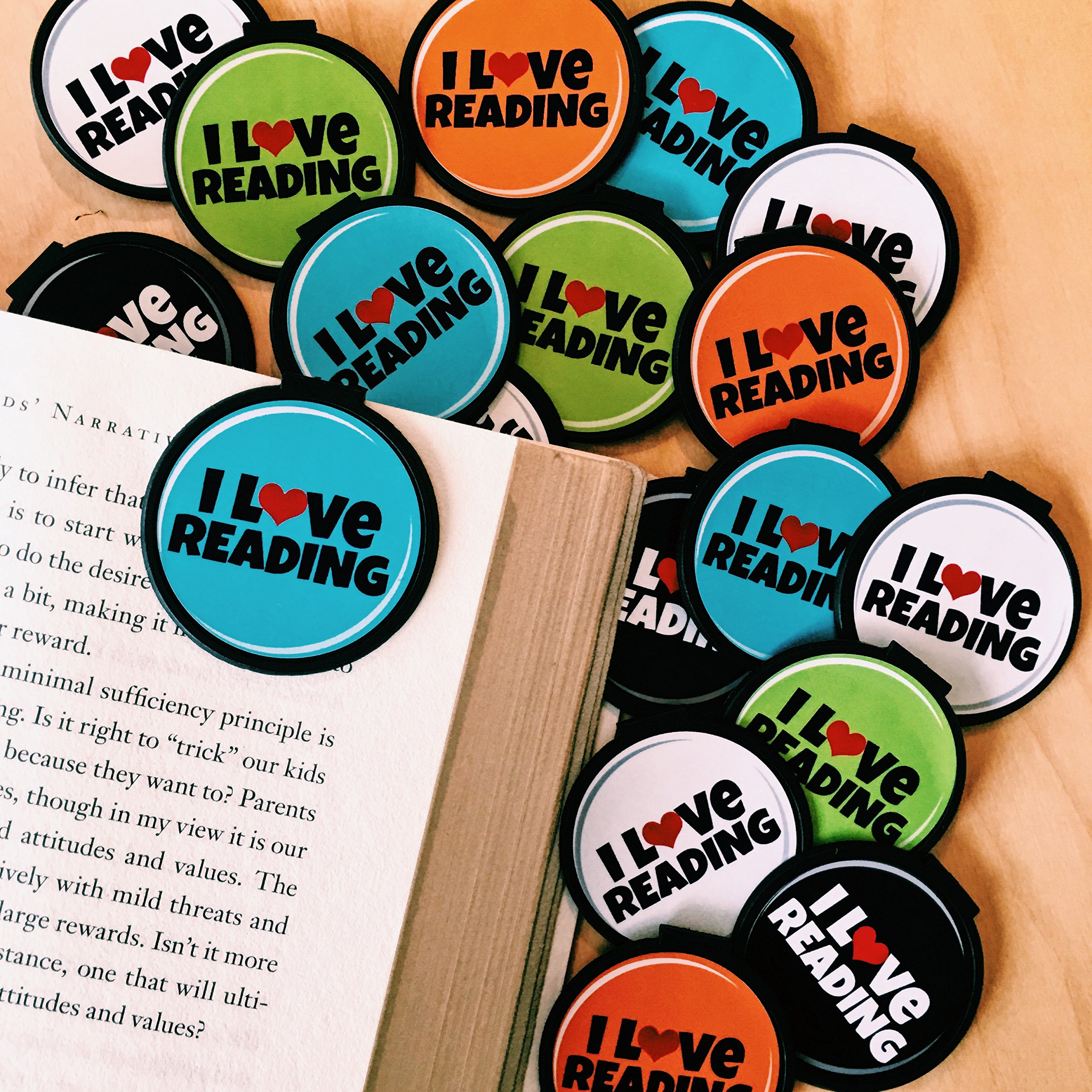 "I LOVE Reading! ""Clip over the page"" Bookmarks (Set of 30) Multi-color"