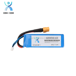 Li ion polymer battery pack 7.4v 6000mah for rc toy