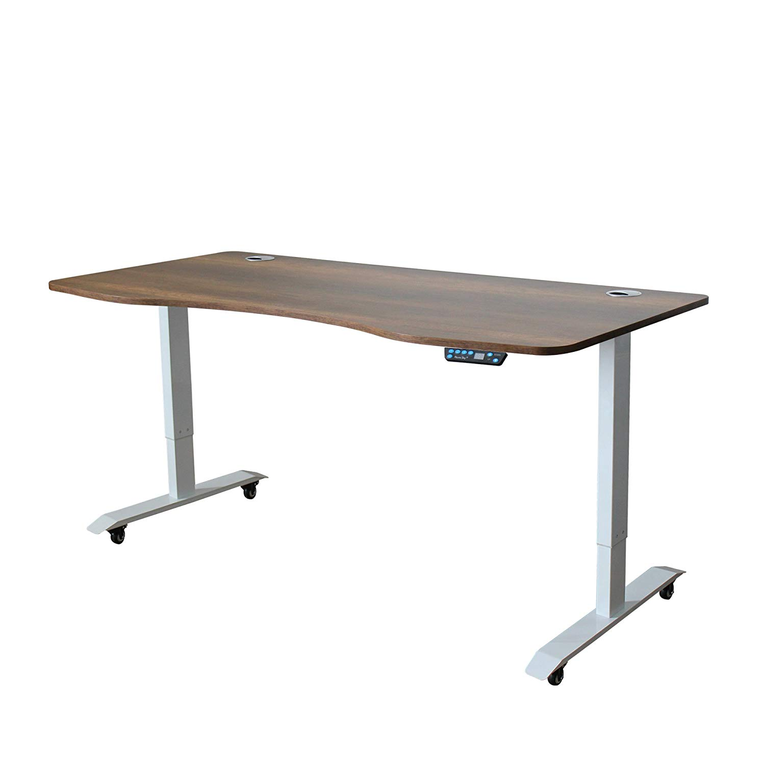 Azure Sky A-63 Ergonomic 63-in 3 Memory Buttons LED Electric Automatic Height Adjustable Sit to Stand Curved Work Office Desk with White Legs