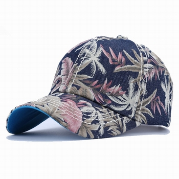 d25cf78b31e34f S3053 new custom stylish women floral printing flower baseball caps for  girls
