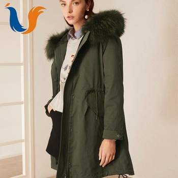 Canada style custom women fur hooded military parka coat with OEM service