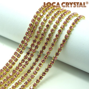 LOCACRYSTAL brand rhinestone claw setting crystals metal chain trim for shoes,baccarat crystal