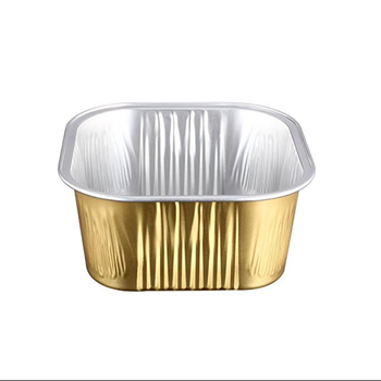 Disposable Golden Square Aluminium  Foil Container For Food Packaging