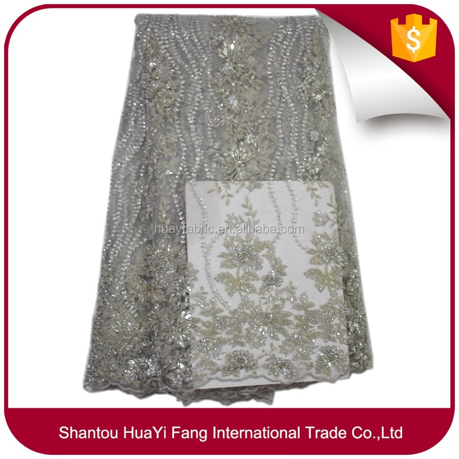 Luxury french silver 3d tulle lace embroidered with full handmade sequins beaded lace for wedding dress FB0062