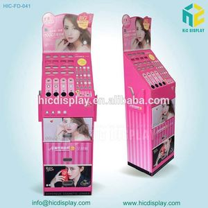 High quality cardboard floor standing display stand for cosmetics