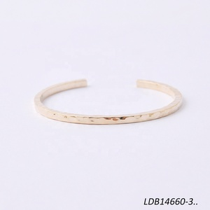 Thin Hammered Gold Cuff Bangle Open Adjustable Stacking Bracelets