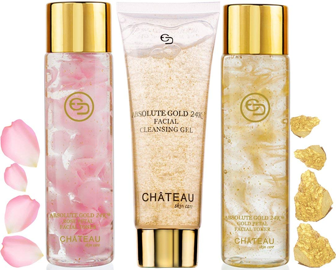 Absolute Gold 24K ROSE PETAL FACIAL TONER, GOLD PETAL FACIAL TONER, FACIAL CLEANSING GEL ( pack 3). 24 KARAT GOLD / COLLAGEN. For all skin types.