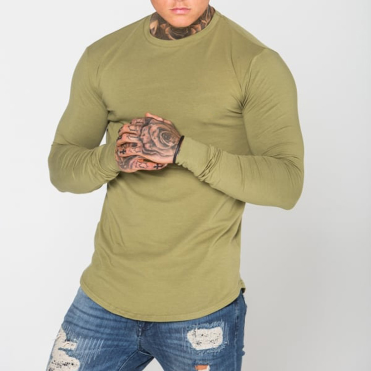 88bc97c579 Online Shopping India Men's Cotton with Spandex Custom Printing O neck Long  Sleeve Tight Fit Curved Hem Men's t shirts