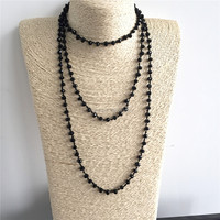 NM11646 Long Knotted Black Glass Beaded Layer Necklace