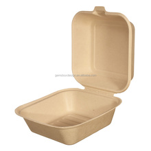 Coquille durable emballage alimentaire 6 pouces pulpe <span class=keywords><strong>de</strong></span> fibre <span class=keywords><strong>de</strong></span> Bambou <span class=keywords><strong>boîte</strong></span> à burger