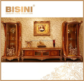 Luxury French Rococo Style Tv Stand Fantacy Hand Carved Solid Wood Cabinet With