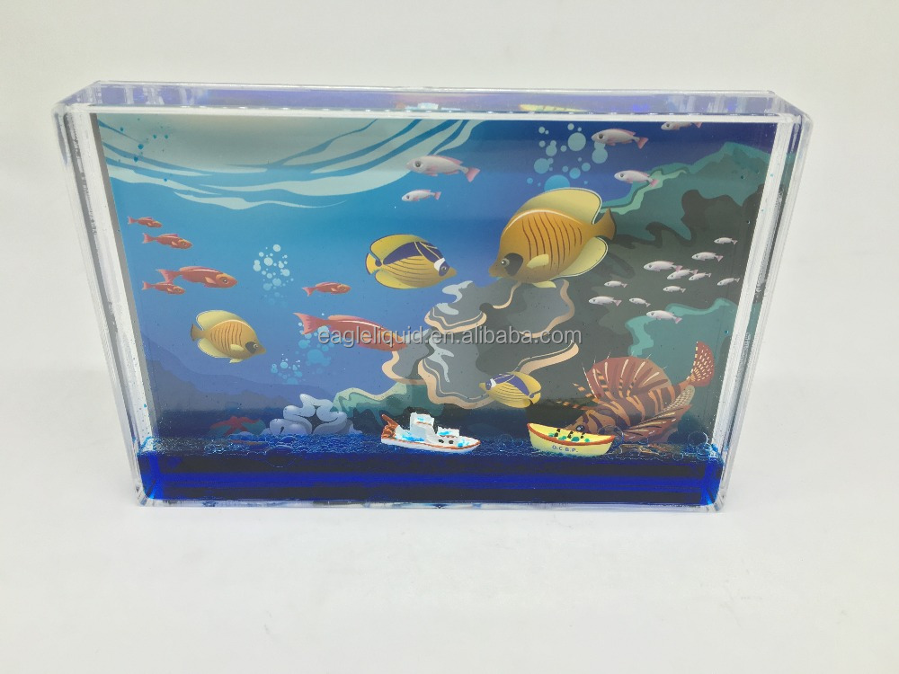 ocean design funny 3D vessel boat floating aqua picture frame