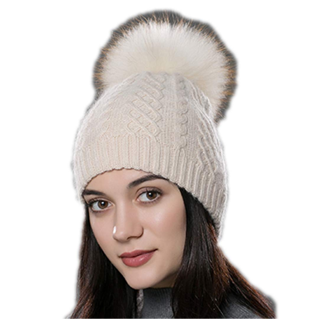 Winter Fur Pompom Hat for Women Cashmere Wool Cotton Hat Big Real Raccoon Fur Pompom Beanies Cap Fox Fur Bobble Hat