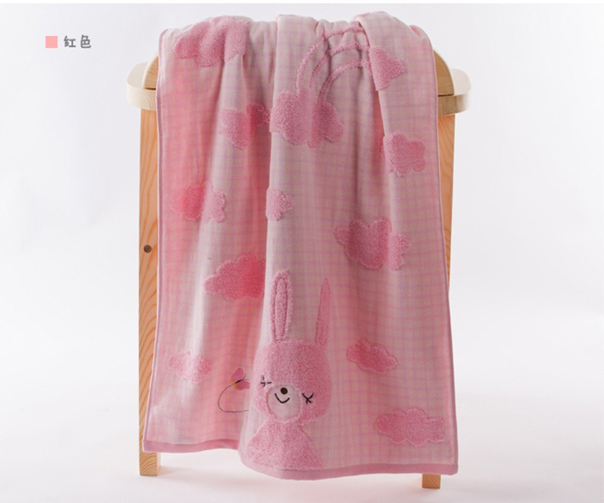 A.H® G3572 Lovely Cartoon Rabbit Animals Pattern Baby Kid Bathroom Bath Towels Large Washcloth 120cm×62cm Rectangular Washcloth Blue/Yellow/Pink 100% High Quality Cotton Soft Touch First Class Product (Pink)