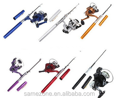 5colors Pocket Mini Pen Shaped 5 Sections Fish Rod Pole w Fishing Spinning Reel, Gold;silver;blue;black;red;pueple