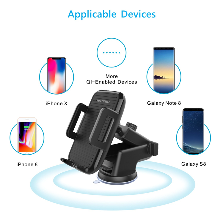 Qi Wireless Car Mount Fast Charger