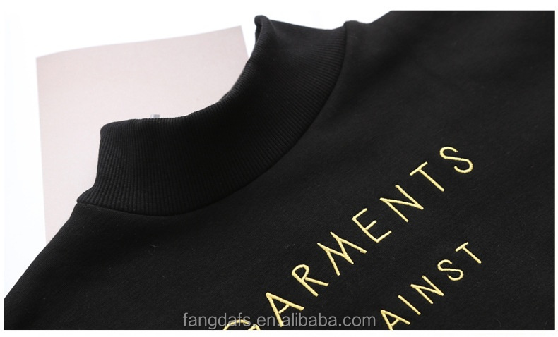 Women winter with letter cashmere custom embroidered cheap plain no pocket hoodies