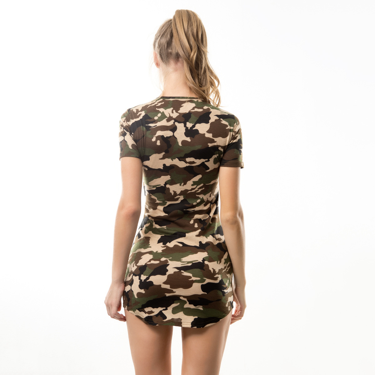 86c4b747fe8 Sexy Pink Camouflage Bodycon Mini Dress Hot Woman Casual Tshirt Dress