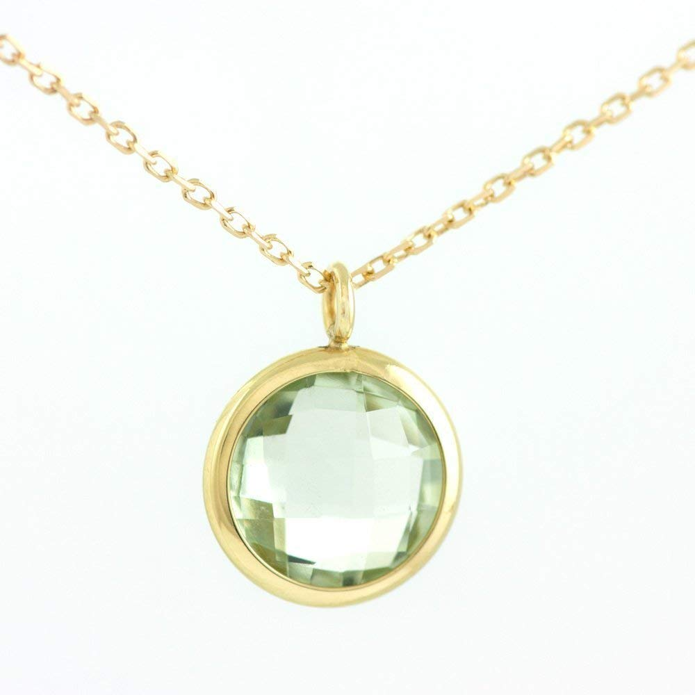 ALARRI 5 CTW 14K Solid Rose Gold Ocean Green Amethyst Necklace with 20 Inch Chain Length